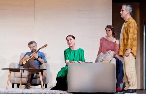 Escena de La Respiración, producida por Teatro de la Abadía y Lazona. Con intérpretes como Verónica Forqué, Pau Durà y Nuria Mencía, entre otros