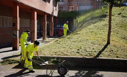 Trabajadores del programa 'Actívate' realizando labores de jardinería en el concejo