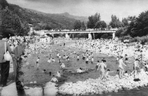 Zona de baños de La Chalana en la década de los 70.