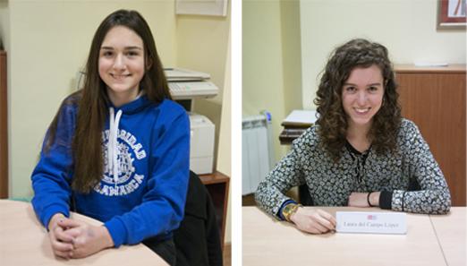 A la izquierda, Elisa Palacios, ganadora de concurso de redacción. A la derecha, Laura del Campo accésit del certamen.