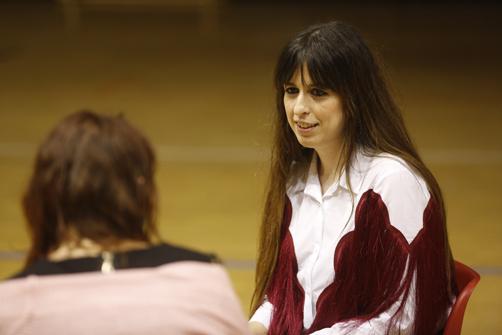 La cantante langreana durante la entrevista.