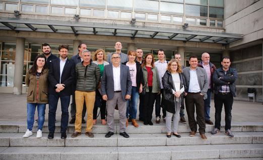 Reunion de los alcaldes de las cuencas mineras en el Campus de Mieres en defensa del grado de deportes.