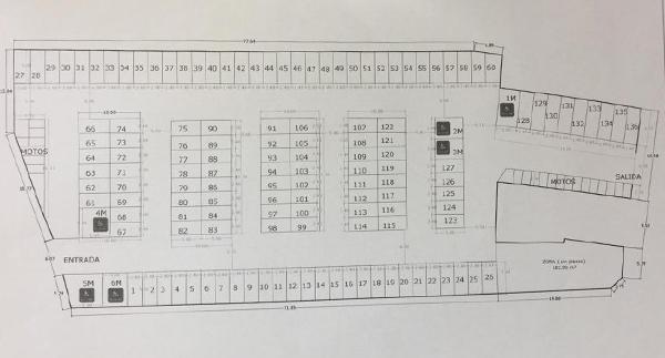Plano del parking de Julián Duro en La Felguera.