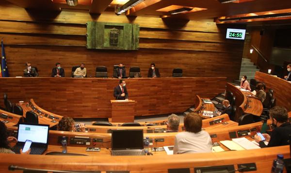 Pleno de la Junta General del Principado donde se aprobó el Proyecto de Ley de los Presupuestos Generales para 2021.