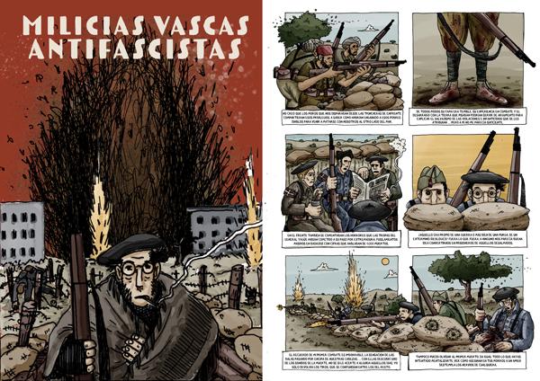 Portada y una de las páginas interiores del libro de Guillermo Menéndez Quirós 'Milicias Vascas Antifascistas'.